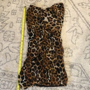 Express Leopard Print Strapless Mini Dress